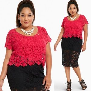 Torrid Crochet Lace Crop Top Womens Plus 2X
